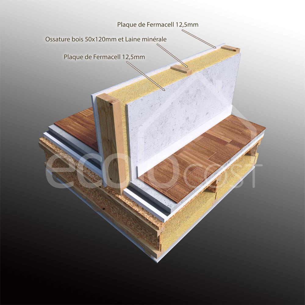 Cloison int rieure ossature bois 144 mm vue 3d ecolocost for Cloisons bois interieur